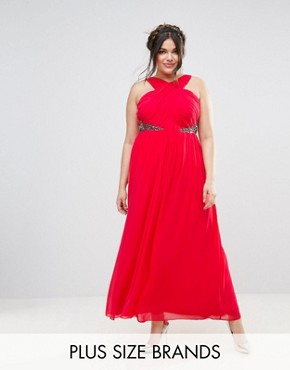 photo Cross Front Maxi Dress with Embellishment by Little Mistress Plus, color Red - Image 1