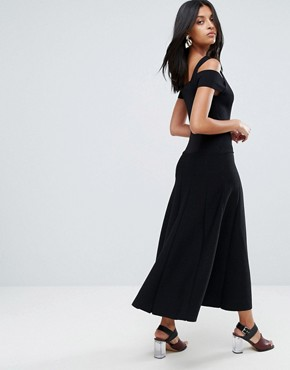 photo Sabina Cold Shoulder Midi Dress with Two Way Zipper by To Be Adored, color Black - Image 2