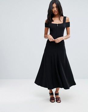 photo Sabina Cold Shoulder Midi Dress with Two Way Zipper by To Be Adored, color Black - Image 1