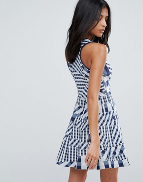 photo Dessy Patchwork Gingham Dress by To Be Adored, color Blue/White - Image 2