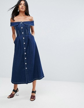 photo Danya Off Shoulder Buttoned Denim A-Line Dress by To Be Adored, color Indigo - Image 1