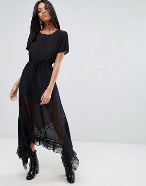 photo Inka Silk Maxi Dress with Lace Stepped Hem by To Be Adored, color Black - Image 1