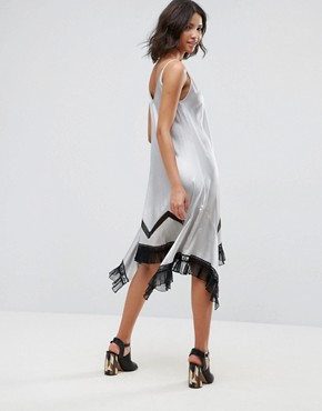 photo Ada Silk Asymmetric Slip Dress with Lace Hem by To Be Adored, color Silver - Image 2