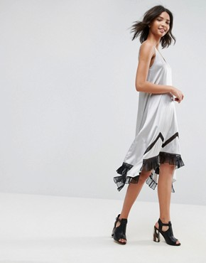 photo Ada Silk Asymmetric Slip Dress with Lace Hem by To Be Adored, color Silver - Image 1