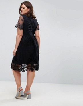 photo Lace Skater Dress by Lost Ink Plus, color Black - Image 2