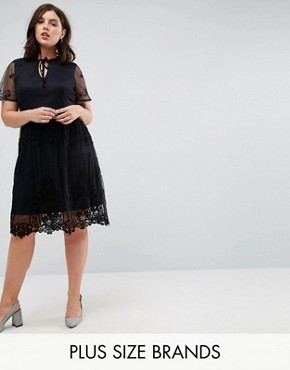 photo Lace Skater Dress by Lost Ink Plus, color Black - Image 1
