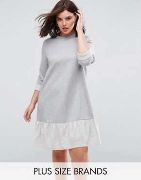 photo Sweat Dress with Frill Hem by Lost Ink Plus, color Grey - Image 1