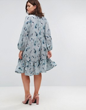 photo Feather Print Smock Dress by Lost Ink Plus, color Multi - Image 2