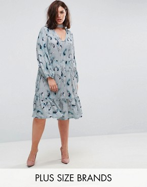 photo Feather Print Smock Dress by Lost Ink Plus, color Multi - Image 1