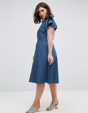photo Denim Dress with Frill Sleeve by Lost Ink Plus, color Blue - Image 2