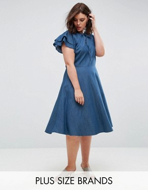 photo Denim Dress with Frill Sleeve by Lost Ink Plus, color Blue - Image 1