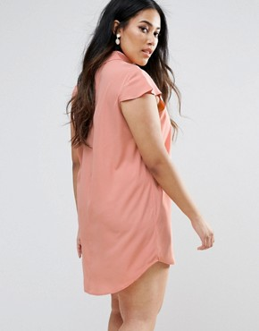 photo Choker Detail Short Sleeve Dress by AX Paris Plus, color Pink - Image 2
