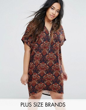 photo Paisley Zip Through Dress by AX Paris Plus, color Paisley Multi - Image 1
