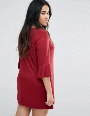 photo Fluted Sleeve Dress by AX Paris Plus, color Burgundy - Image 2