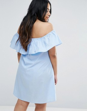 photo Chambray Ruffle Off The Shoulder Dress by AX Paris Plus, color Blue - Image 2