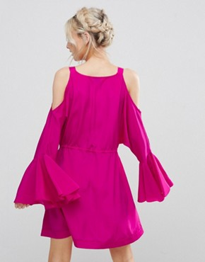 photo Embellished Cold Shoulder Dress with Peplum Hem Detail by White Cove Petite, color Hot Pink - Image 2