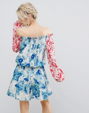 photo Allover Mix Match Floral Off Shoulder Mini Dress with Fluted Sleeve Detail by White Cove Petite, color Multi - Image 2