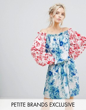 photo Allover Mix Match Floral Off Shoulder Mini Dress with Fluted Sleeve Detail by White Cove Petite, color Multi - Image 1