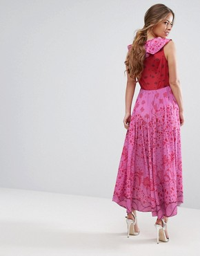 photo High Low Lace Up Maxi Dress with Tassel Detail by White Cove Petite, color Pink Red - Image 2