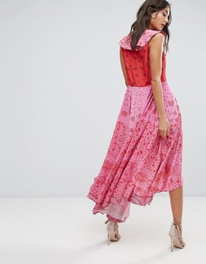 photo High Low Lace Up Maxi Dress with Tassel Detail by White Cove Tall, color Pink Red - Image 2