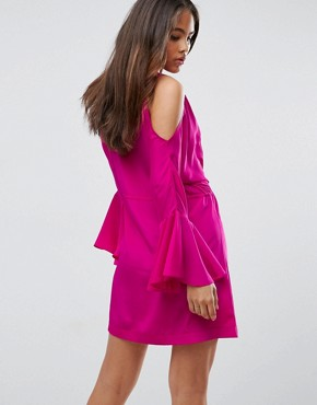 photo Embellished Cold Shoulder Dress with Peplum Hem Detail by White Cove Tall, color Hot Pink - Image 2