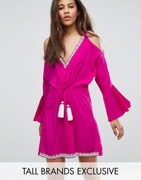photo Embellished Cold Shoulder Dress with Peplum Hem Detail by White Cove Tall, color Hot Pink - Image 1