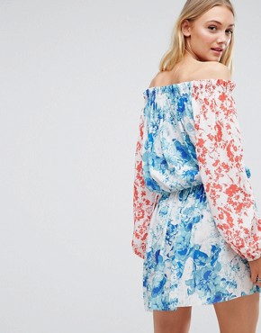 photo Allover Mix Match Floral Off Shoulder Mini Dress with Fluted Sleeve Detail by White Cove Tall, color Multi - Image 2