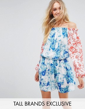 photo Allover Mix Match Floral Off Shoulder Mini Dress with Fluted Sleeve Detail by White Cove Tall, color Multi - Image 1