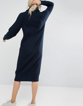 photo Chunky Knit Midi Dress with Scarf Tie Detail by ASOS WHITE, color Navy - Image 2