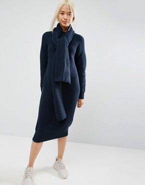 photo Chunky Knit Midi Dress with Scarf Tie Detail by ASOS WHITE, color Navy - Image 1