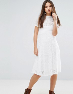 photo Romantics Lace Flared Midi Dress with Slip by Goldie, color Ivory - Image 1