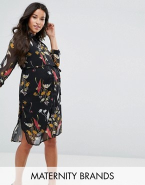 photo Floral Shirt Dress by Mamalicious, color Multi - Image 1