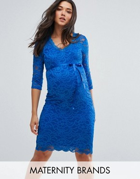 photo Lace Bodycon Dress by Mamalicious, color Blue - Image 1