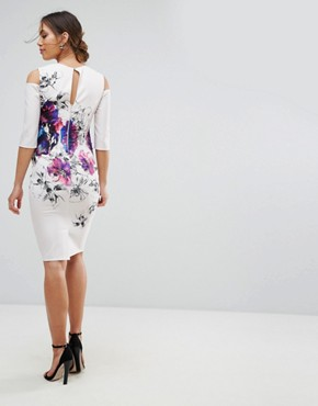 photo Floral Placement Dress with Cold Shoulder by Little Mistress Maternity, color Cream - Image 2