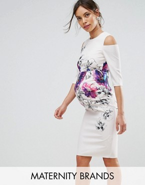photo Floral Placement Dress with Cold Shoulder by Little Mistress Maternity, color Cream - Image 1