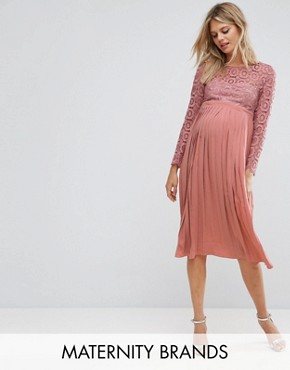 photo Crochet Bodice Midi Dress with Pleated Skirt by Little Mistress Maternity, color Pink - Image 1