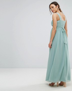 photo Maxi Dress with Embellished Waist by Little Mistress Maternity, color Green - Image 2