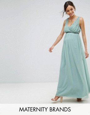 photo Maxi Dress with Embellished Waist by Little Mistress Maternity, color Green - Image 1