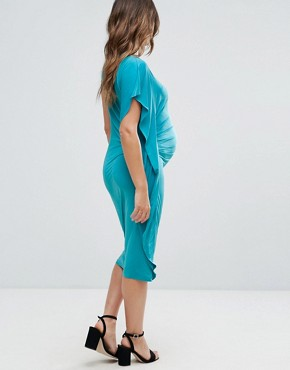 photo Drape Side Midi Dress by ASOS Maternity, color Jade - Image 2