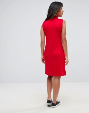 photo Shift Dress with Shirred Neck by ASOS Maternity PETITE, color Red - Image 2
