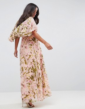 photo Pleated Flutter Sleeve Maxi Dress in Floral Print by ASOS Maternity, color Multi - Image 2