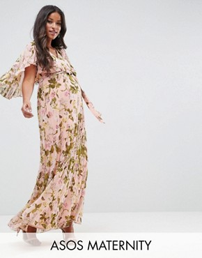 photo Pleated Flutter Sleeve Maxi Dress in Floral Print by ASOS Maternity, color Multi - Image 1
