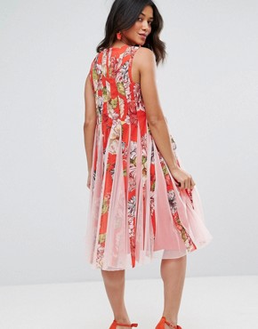 photo Floral Mesh Insert Fit and Flare Midi Dress by ASOS Maternity, color Multi - Image 2