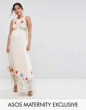 photo Embroidery Mesh Maxi Dress by ASOS Maternity, color Nude - Image 1