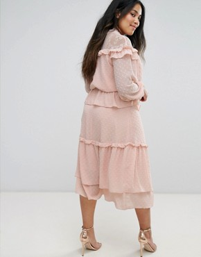 photo Victoriana Tiered Midi Dress in Dobby Lace by Truly You, color Pink - Image 2