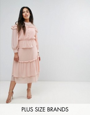 photo Victoriana Tiered Midi Dress in Dobby Lace by Truly You, color Pink - Image 1