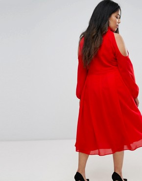 photo Long Sleeve Midi Dress with Cold Shoulder and Choker Detail by Truly You, color Red - Image 2