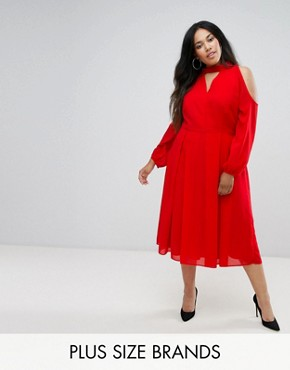 photo Long Sleeve Midi Dress with Cold Shoulder and Choker Detail by Truly You, color Red - Image 1