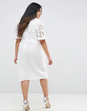 photo Lace Bodice Pencil Dress with Ruffle Neck and Wrap Skirt by Truly You, color White - Image 2