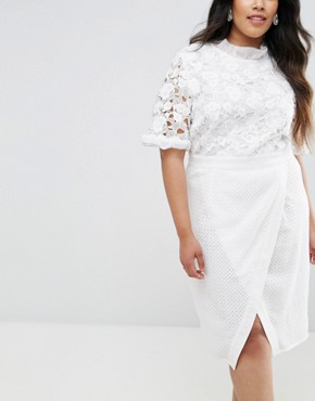 photo Lace Bodice Pencil Dress with Ruffle Neck and Wrap Skirt by Truly You, color White - Image 3